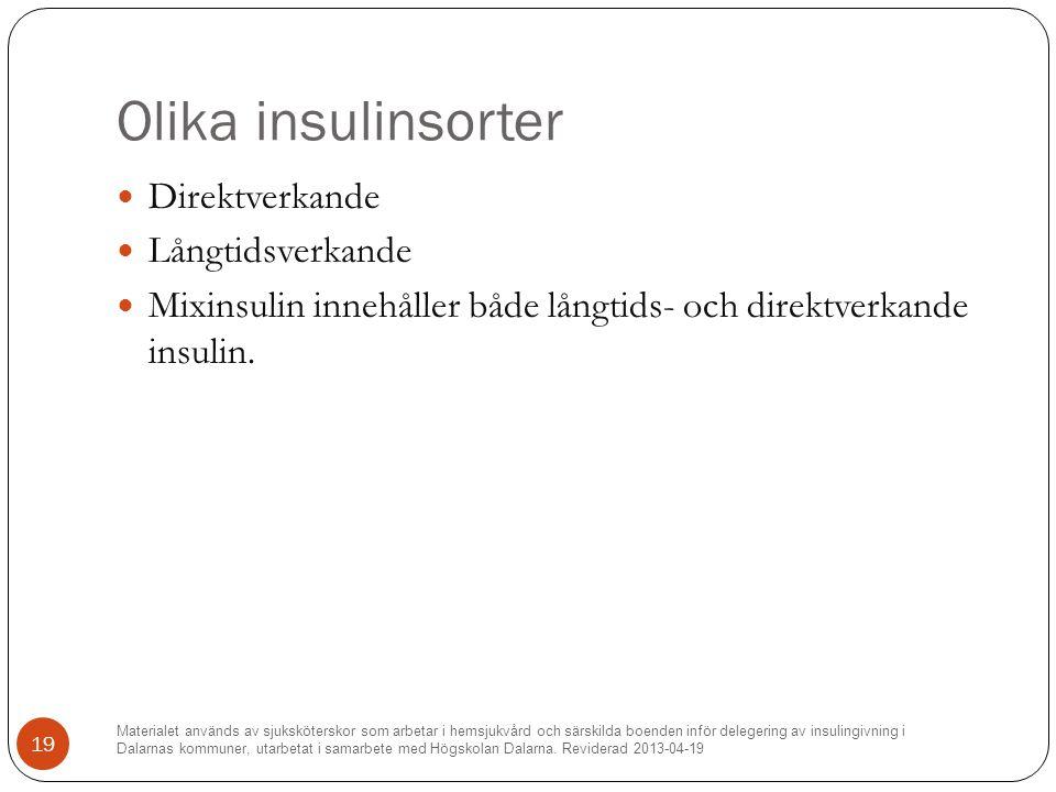 Olika insulinsorter Direktverkande Långtidsverkande