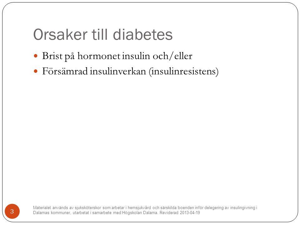 Orsaker till diabetes Brist på hormonet insulin och/eller
