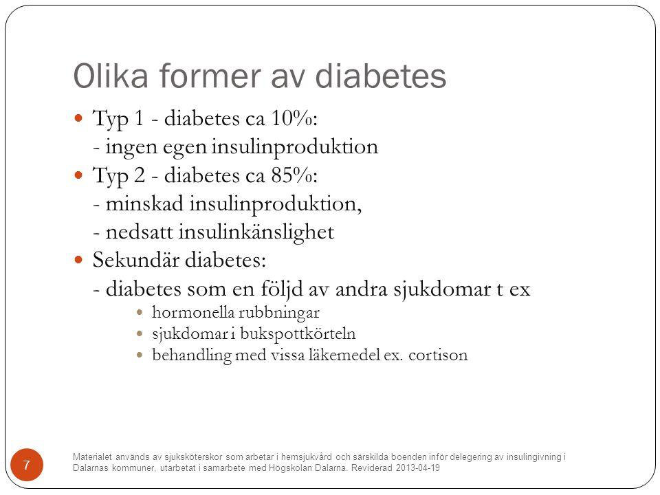 Olika former av diabetes