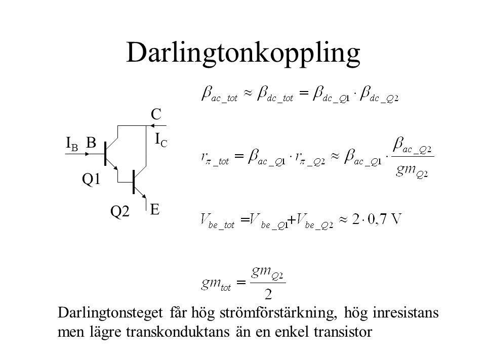 Darlingtonkoppling C IC IB B Q1 Q2 E
