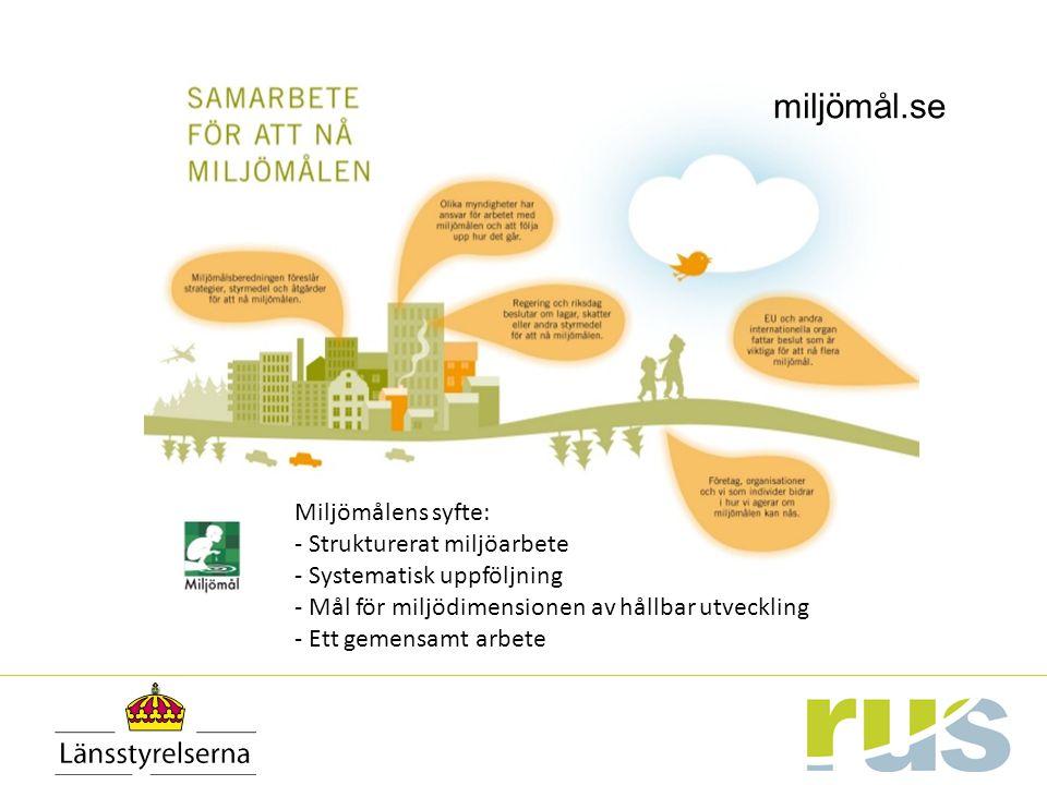 miljömål.se Miljömålens syfte: - Strukturerat miljöarbete