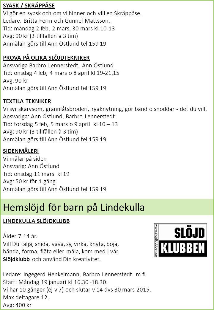 Hemslöjd för barn på Lindekulla