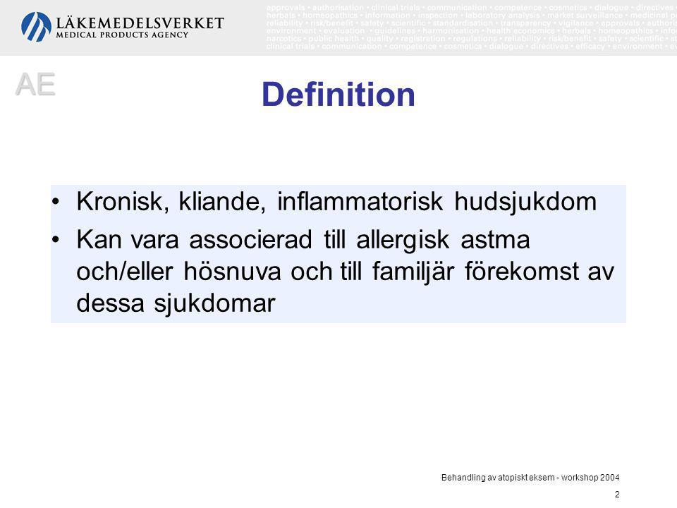 Definition AE Kronisk, kliande, inflammatorisk hudsjukdom