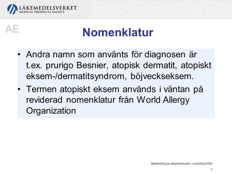 AE Nomenklatur. Andra namn som använts för diagnosen är t.ex. prurigo Besnier, atopisk dermatit, atopiskt eksem-/dermatitsyndrom, böjveckseksem.