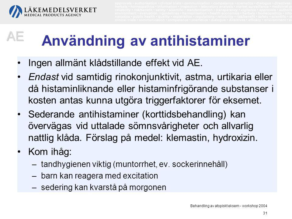 Användning av antihistaminer
