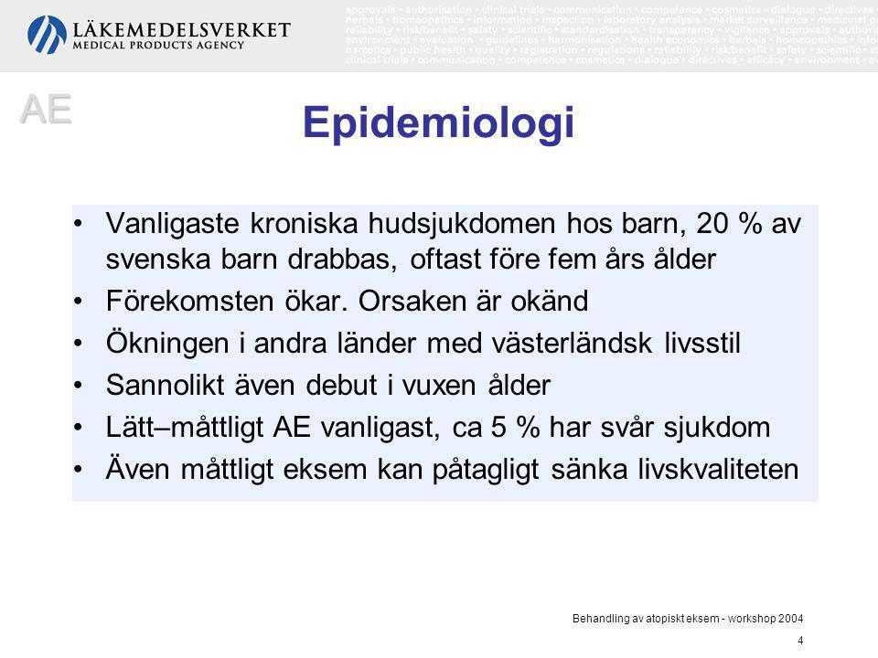 AE Epidemiologi. Vanligaste kroniska hudsjukdomen hos barn, 20 % av svenska barn drabbas, oftast före fem års ålder.