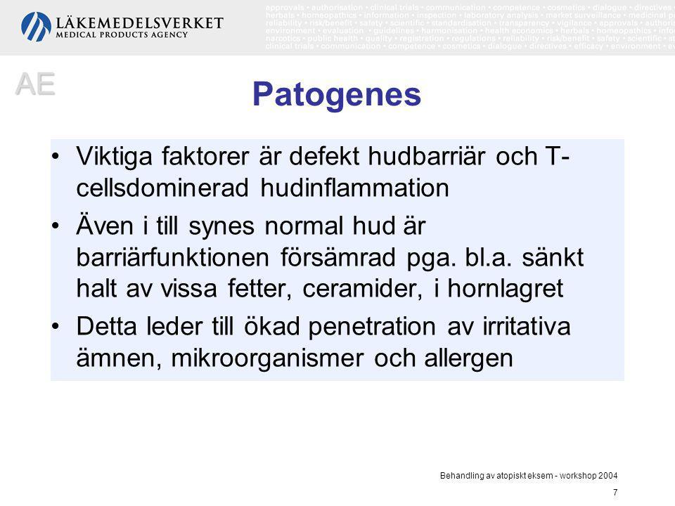 AE Patogenes. Viktiga faktorer är defekt hudbarriär och T-cellsdominerad hudinflammation.