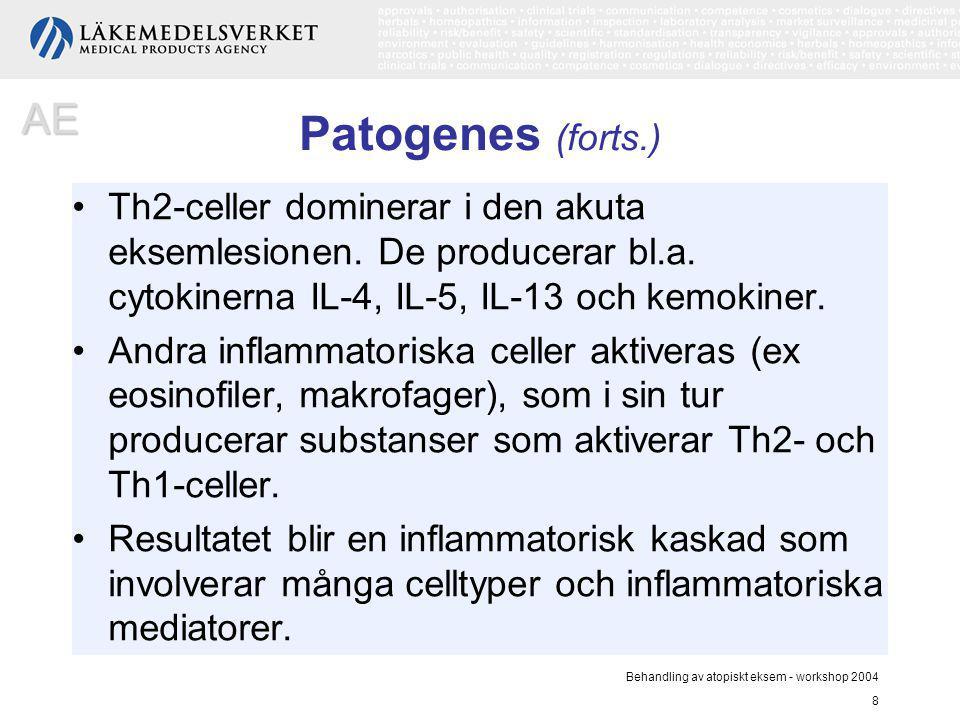 AE Patogenes (forts.) Th2-celler dominerar i den akuta eksemlesionen. De producerar bl.a. cytokinerna IL-4, IL-5, IL-13 och kemokiner.