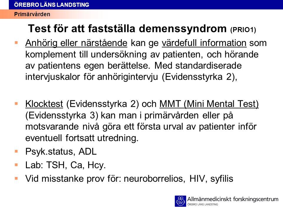 Test för att fastställa demenssyndrom (PRIO1)