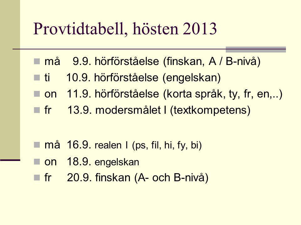 Provtidtabell, hösten 2013 må 9.9. hörförståelse (finskan, A / B-nivå)