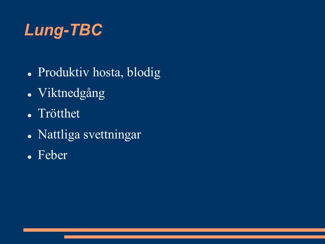Lung-TBC Produktiv hosta, blodig Viktnedgång Trötthet