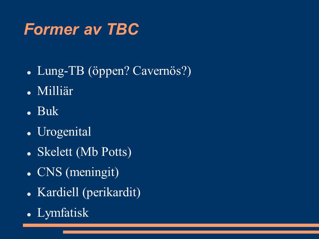 Former av TBC Lung-TB (öppen Cavernös ) Milliär Buk Urogenital