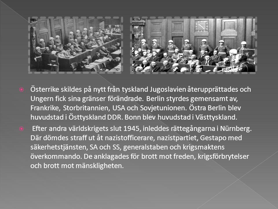 Österrike skildes på nytt från tyskland Jugoslavien återupprättades och Ungern fick sina gränser förändrade. Berlin styrdes gemensamt av, Frankrike, Storbritannien, USA och Sovjetunionen. Östra Berlin blev huvudstad i Östtyskland DDR. Bonn blev huvudstad i Västtyskland.