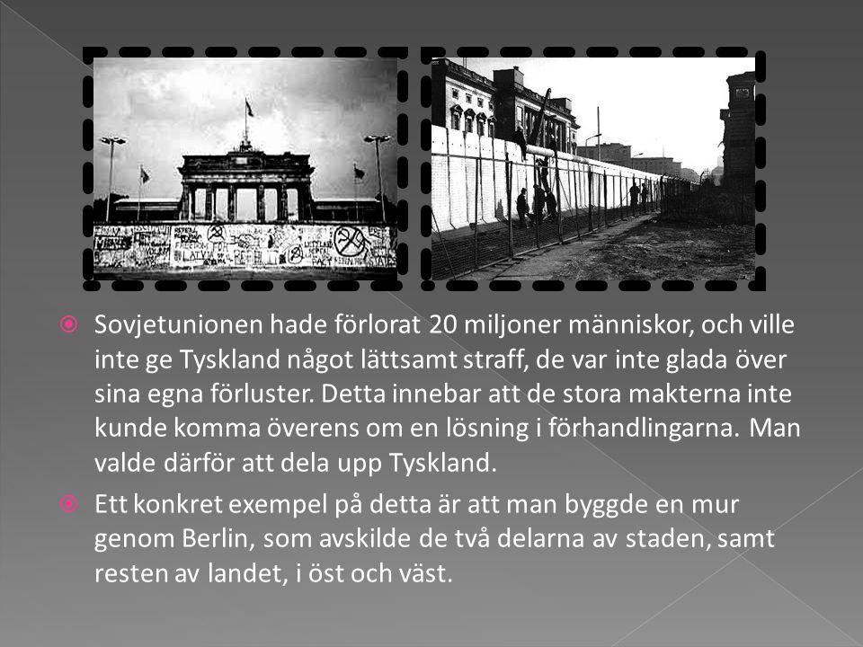 Sovjetunionen hade förlorat 20 miljoner människor, och ville inte ge Tyskland något lättsamt straff, de var inte glada över sina egna förluster. Detta innebar att de stora makterna inte kunde komma överens om en lösning i förhandlingarna. Man valde därför att dela upp Tyskland.
