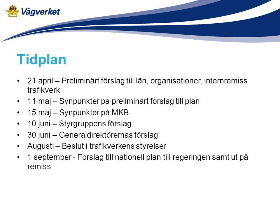 Tidplan 21 april – Preliminärt förslag till län, organisationer, internremiss trafikverk. 11 maj – Synpunkter på preliminärt förslag till plan.