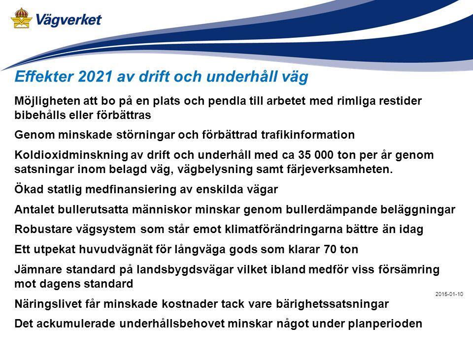 Effekter 2021 av drift och underhåll väg