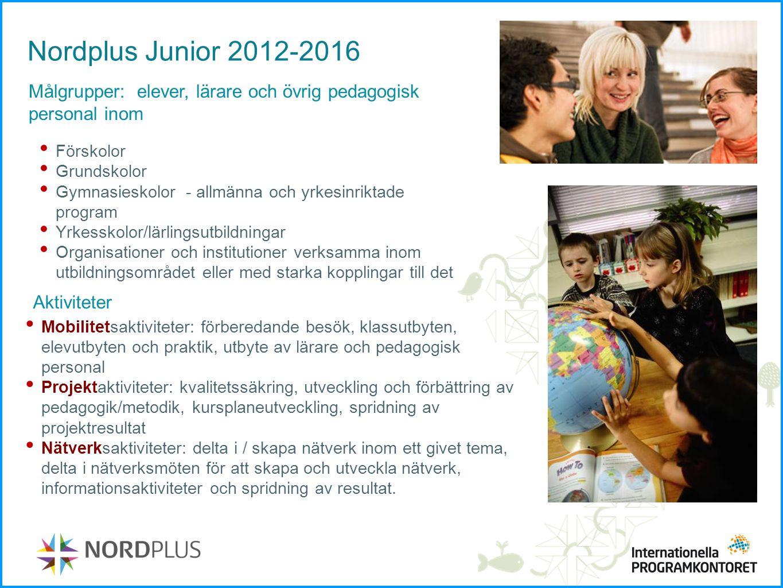 Nordplus Junior 2012-2016 Målgrupper: elever, lärare och övrig pedagogisk personal inom. Förskolor.