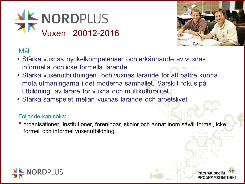 Vuxen 20012-2016 Mål. Stärka vuxnas nyckelkompetenser och erkännande av vuxnas informella och icke formella lärande.