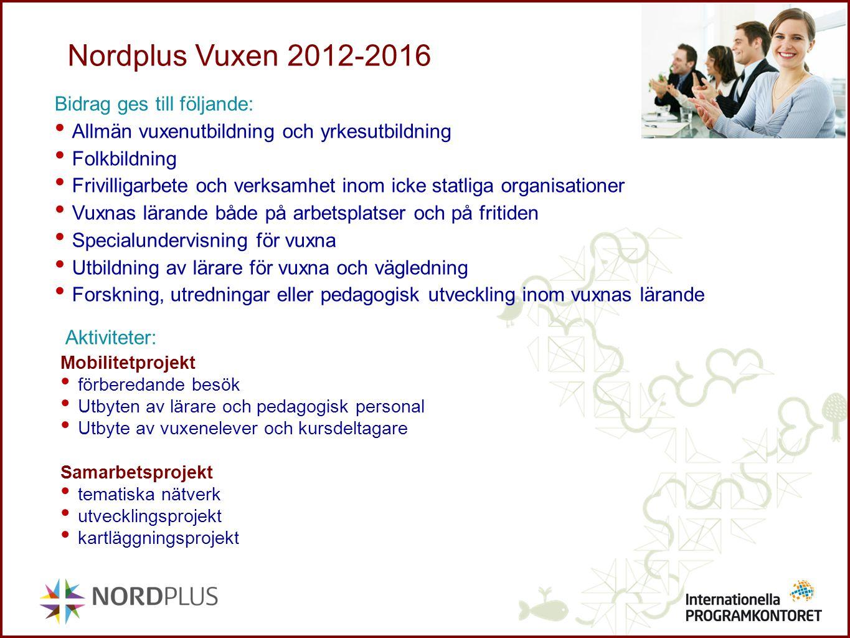 Nordplus Vuxen 2012-2016 Bidrag ges till följande: