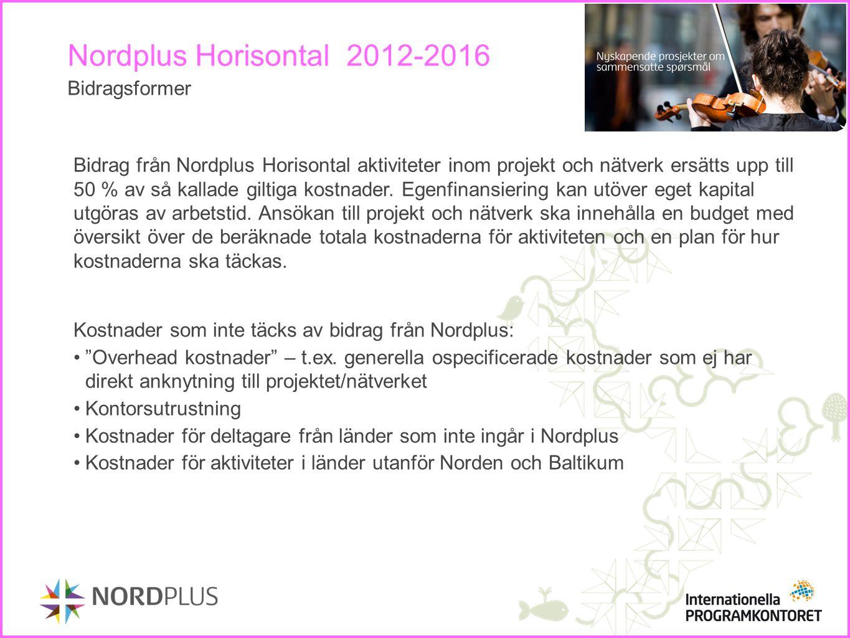Nordplus Horisontal 2012-2016 Bidragsformer