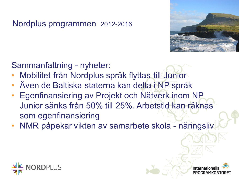 Nordplus programmen 2012-2016 Sammanfattning - nyheter: Mobilitet från Nordplus språk flyttas till Junior.