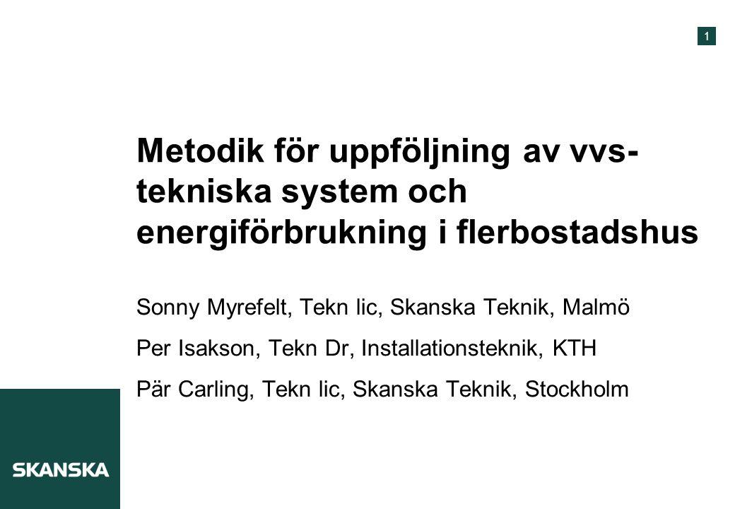Metodik för uppföljning av vvs-tekniska system och energiförbrukning i flerbostadshus
