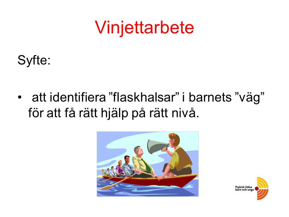 Vinjettarbete Syfte: att identifiera flaskhalsar i barnets väg för att få rätt hjälp på rätt nivå.