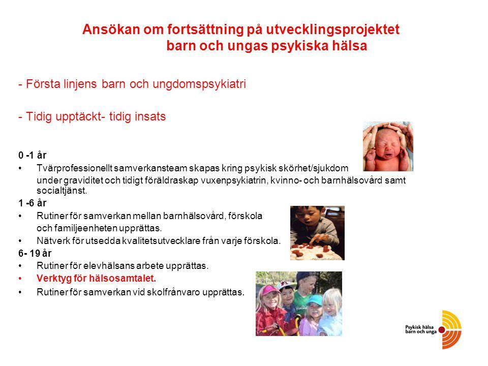 Ansökan om fortsättning på utvecklingsprojektet barn och ungas psykiska hälsa