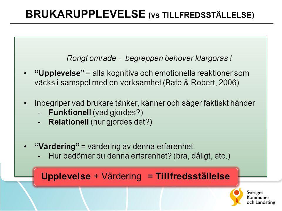 BRUKARUPPLEVELSE (vs TILLFREDSSTÄLLELSE)
