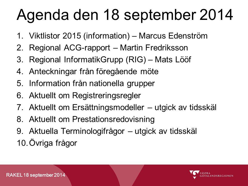 Agenda den 18 september 2014 Viktlistor 2015 (information) – Marcus Edenström. Regional ACG-rapport – Martin Fredriksson.
