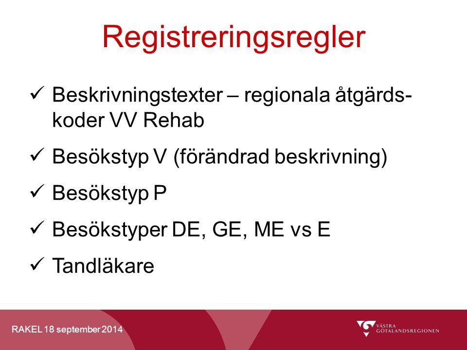 Registreringsregler Beskrivningstexter – regionala åtgärds- koder VV Rehab. Besökstyp V (förändrad beskrivning)