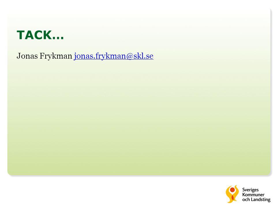 TACK… Jonas Frykman jonas.frykman@skl.se
