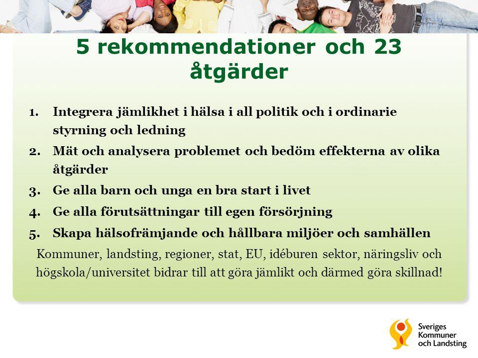 5 rekommendationer och 23 åtgärder