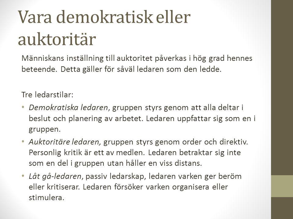Vara demokratisk eller auktoritär