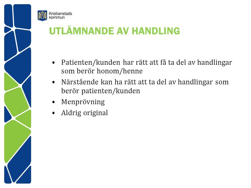 UTLÄMNANDE AV HANDLING