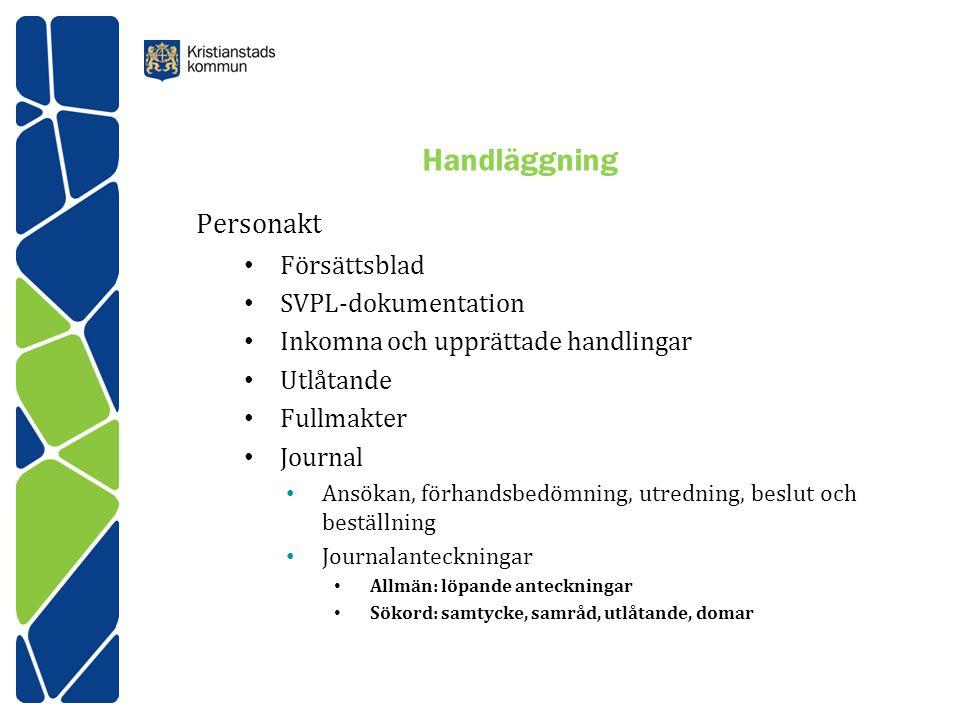Handläggning Personakt Försättsblad SVPL-dokumentation