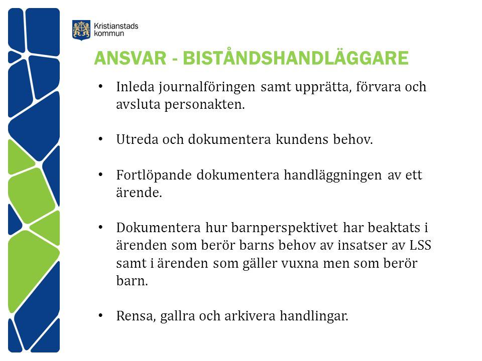 ANSVAR - BISTÅNDSHANDLÄGGARE