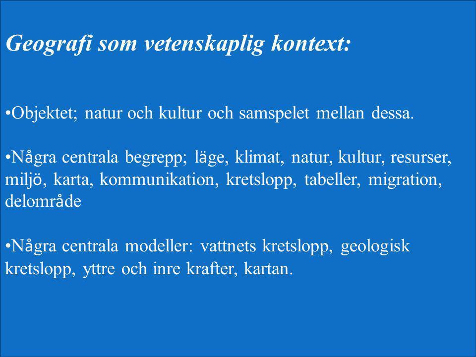 Geografi som vetenskaplig kontext:
