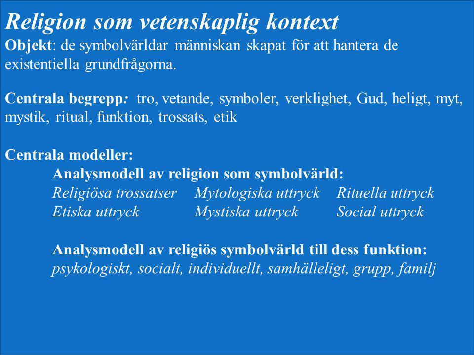 Religion som vetenskaplig kontext