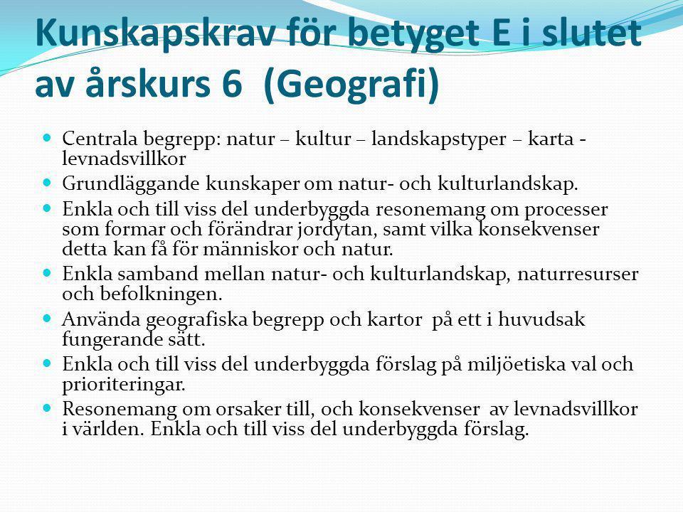 Kunskapskrav för betyget E i slutet av årskurs 6 (Geografi)