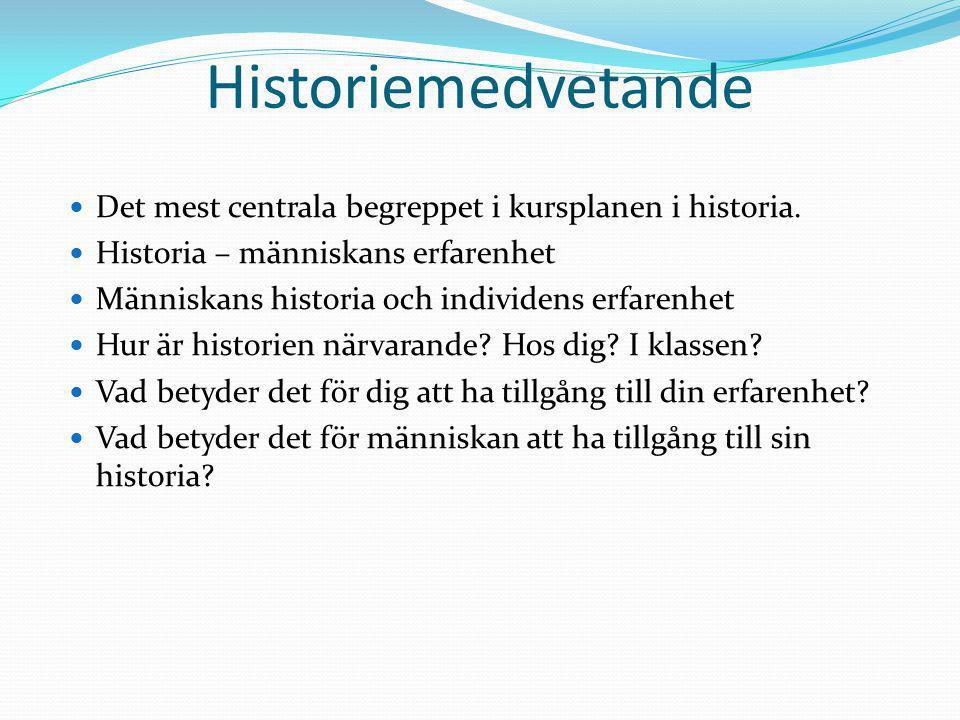 Historiemedvetande Det mest centrala begreppet i kursplanen i historia. Historia – människans erfarenhet.