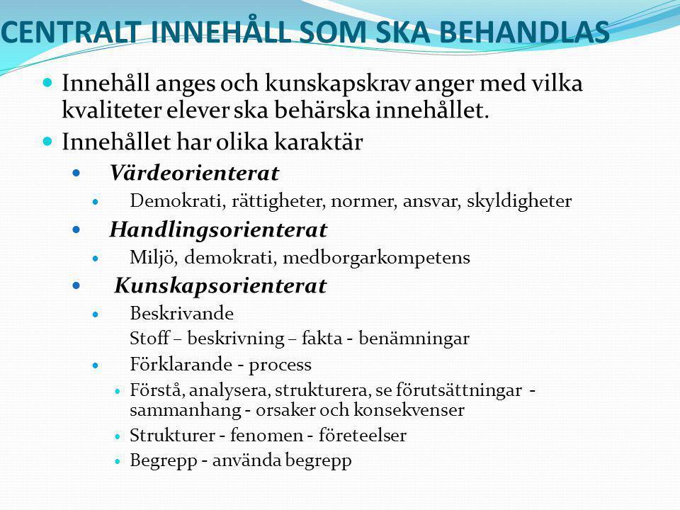 CENTRALT INNEHÅLL SOM SKA BEHANDLAS