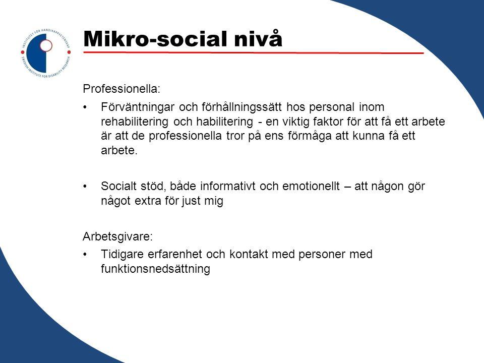 Mikro-social nivå Professionella: