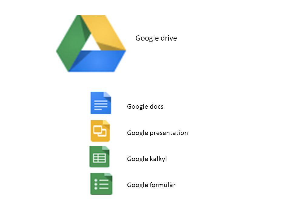 Google drive Google docs Google presentation Google kalkyl