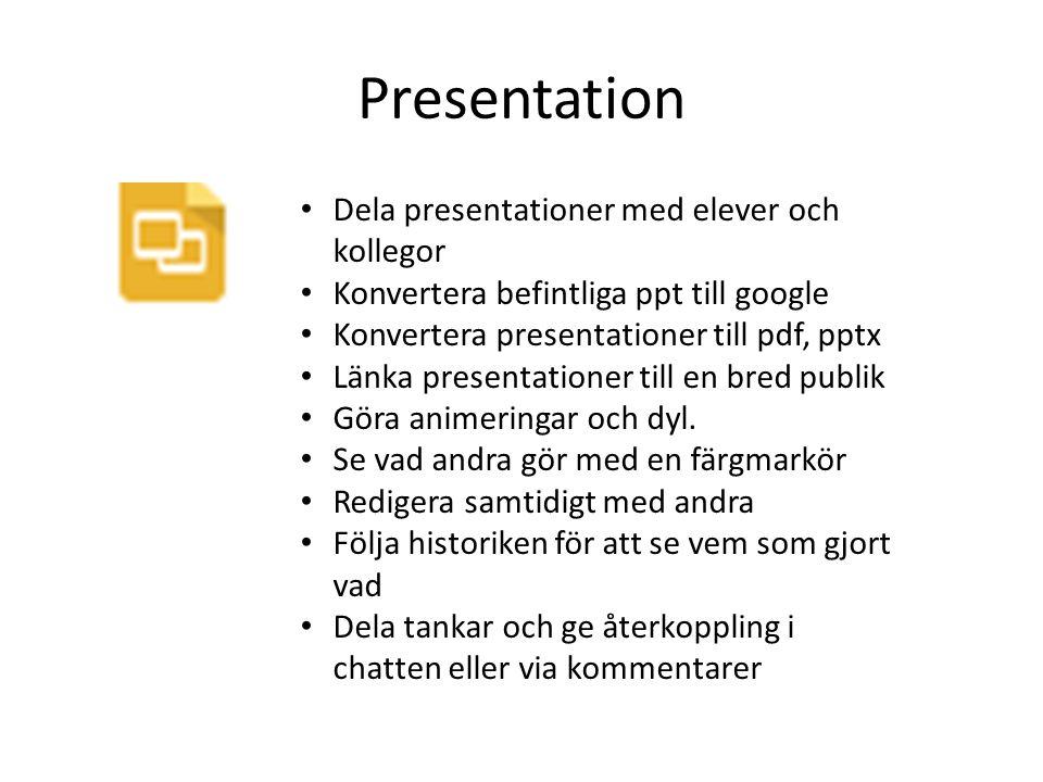 Presentation Dela presentationer med elever och kollegor