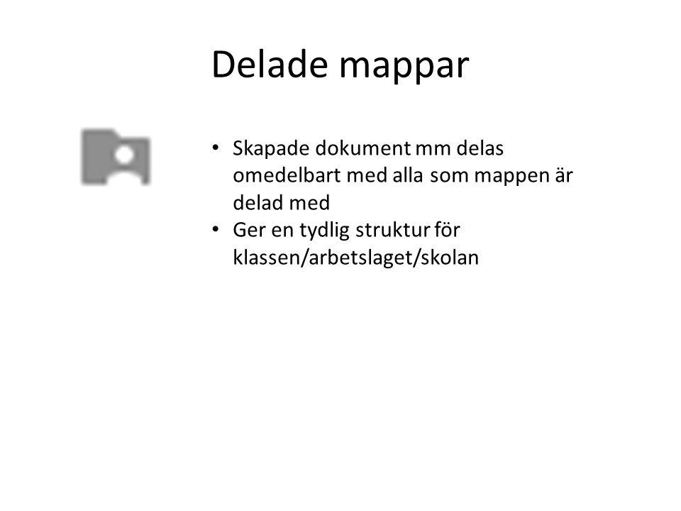 Delade mappar Skapade dokument mm delas omedelbart med alla som mappen är delad med.