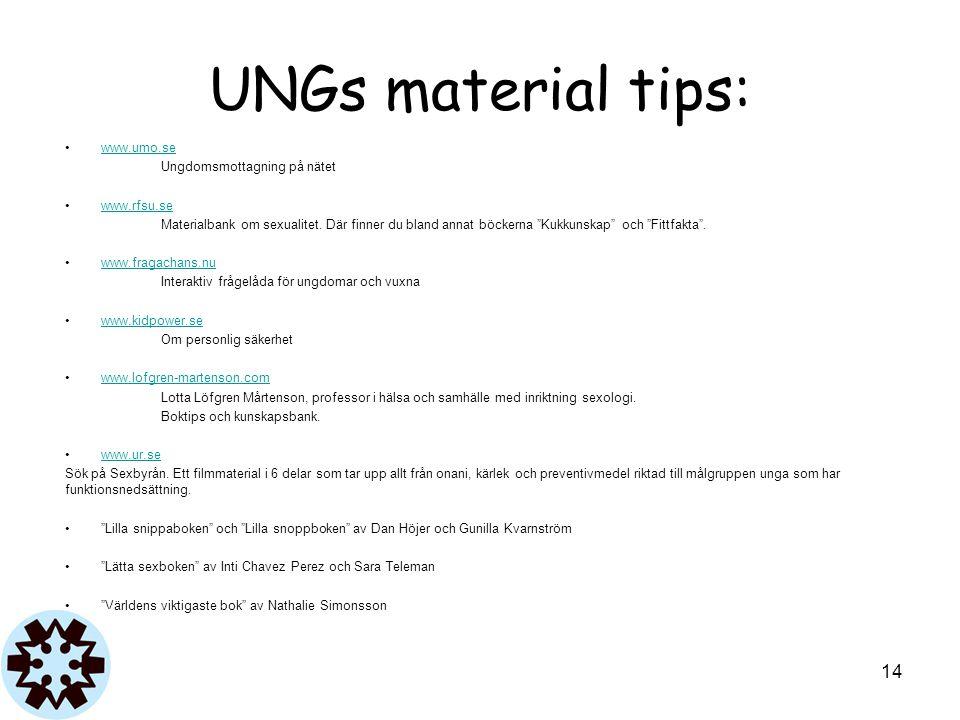 UNGs material tips: www.umo.se Ungdomsmottagning på nätet www.rfsu.se