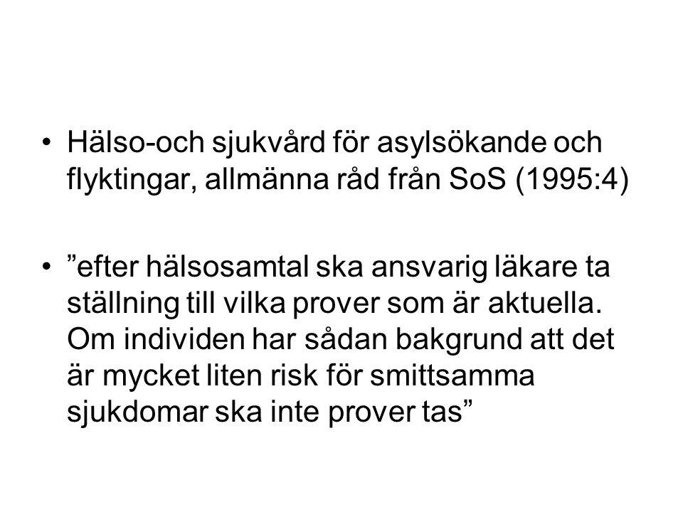 Hälso-och sjukvård för asylsökande och flyktingar, allmänna råd från SoS (1995:4)