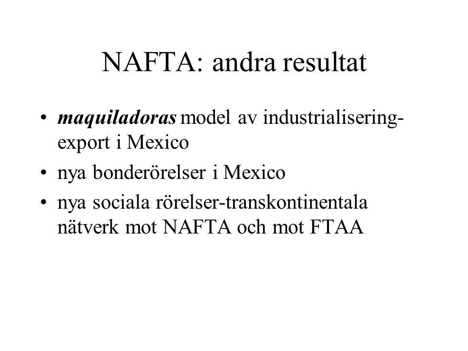 NAFTA: andra resultat maquiladoras model av industrialisering-export i Mexico. nya bonderörelser i Mexico.