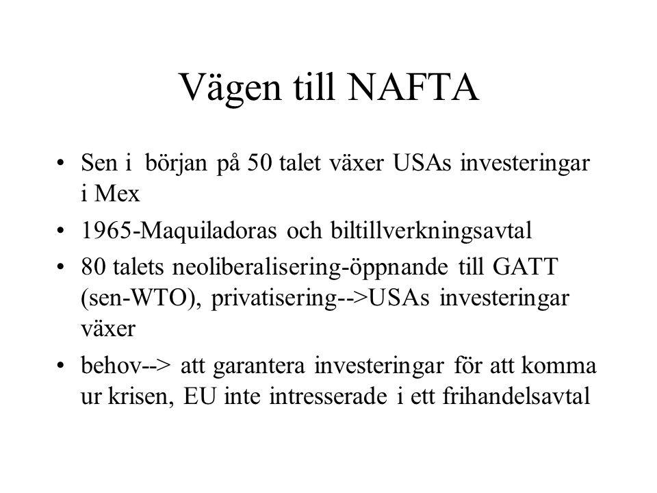 Vägen till NAFTA Sen i början på 50 talet växer USAs investeringar i Mex. 1965-Maquiladoras och biltillverkningsavtal.